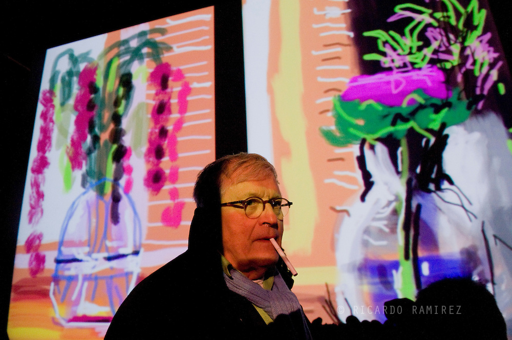 """07.04.11. Humlebaek, Denmark.  David Hockney's press conference for the opening of the exhibition """"Me Draw on iPad"""" at the Museum of Modern Art Lousiana.Photo: © Ricardo Ramirez"""
