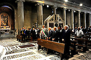 Roma 19 Agosto 2010.Commemorazione di Alcide De Gasperi a 56 anni dalla morte nella basilica di San Lorenzo fuori le mura dove si  trova la tomba dello statista,  nel portico della basilica.Gianni Letta sottosegretario alla presidenza del consiglio  del Governo Berlusconi con il presidente emerito della Repubblica Oscar Luigi Scalfaro, Mauro Cutrufo, vicesindaco di Roma .Commemoration of Alcide De Gasperi 56 years after death.Alcide De Gasperi burial in San Lorenzo Basilica.Gianni Letta, undersecretary of the  government Berlusconi,  President Emeritus of the Republic Oscar Luigi Scalfaro, Mauro Cutrufro Deputy Mayor of Rome.http://en.wikipedia.org/wiki/Alcide_De_Gasperiperi