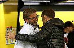 Liverpool Manager Jurgen Klopp and Borussia Dortmund Manager Thomas Tuchel embrace - Mandatory by-line: Robbie Stephenson/JMP - 07/04/2016 - FOOTBALL - Signal Iduna Park - Dortmund,  - Borussia Dortmund v Liverpool - UEFA Europa League Quarter Finals First Leg