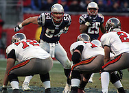 New England Patriot Linebacker Tedy Bruschi calls the signals to the Patriots defense.  New England hammered Tampa Bay's offensive all game with intense pressure in an impressive 28-0 victory at Gillette Stadium, Foxboro, MA