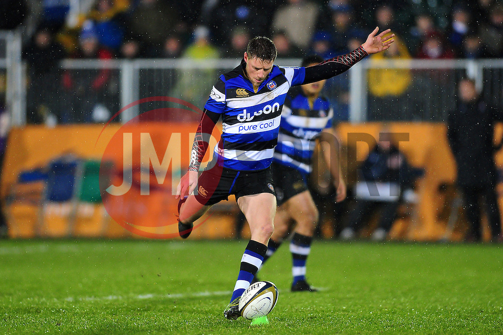 Rhys Priestland of Bath Rugby kicks for the posts - Mandatory byline: Patrick Khachfe/JMP - 07966 386802 - 27/01/2017 - RUGBY UNION - The Recreation Ground - Bath, England - Bath Rugby v Gloucester Rugby - Anglo-Welsh Cup.
