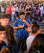 6月30日,民众在626夜市享用美食。当天 ,在美国洛杉矶阿卡迪亚市的圣安娜公园举行626夜市。上百个美食摊位、汇集了洛杉矶周围几乎所有的华人小吃,吸引大批民众参与。新华社发 (赵汉荣摄)<br /> People enjoy the food in front of the food stalls at the '626 Night Market' on June 30, 2017 in Arcadia, Caliifronia, the United States. 626 Night Market IS an event that attracts all generations of the Chinese American community and showcases many San Gabriel Valley food vendors. (Xinhua/Zhao Hanrong)(Photo by Ringo Chiu)<br /> <br /> Usage Notes: This content is intended for editorial use only. For other uses, additional clearances may be required.