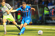 George Dobson and Bradden Inman during the EFL Sky Bet League 1 match between Rochdale and Walsall at Spotland, Rochdale, England on 25 August 2018.