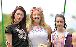 Music fans at the Westport Festival Amy Bradshaw, Rebecca Hayden and Emma Cunniffe.<br /> Pic Conor McKeown