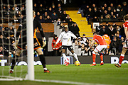 Fulham forward Sheyi Ojo (19) scores a goal (score 2-1) from out wide during the EFL Sky Bet Championship match between Fulham and Barnsley at Craven Cottage, London, England on 23 December 2017. Photo by Andy Walter.