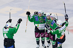 Team HDD Tilia Olimpija celebrating goal at 1st Round ice hockey match of EBEL league between HDD Tilia Olimpija and EV Vienna Capitals, on September 10, 2010, in Hala Tivoli, Ljubljana, Slovenia. (Photo by Matic Klansek Velej / Sportida)