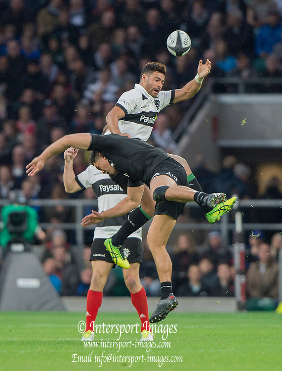Twickenham, Surrey. England.    Baa Baa's, Richie MO'UNGA and All Black, Anton LIENERT-BROWN, go for the high ball, during the Killik Cup, Barbarians vs New Zealand. Twickenham. UK<br /> <br /> Saturday  04.11.17<br /> <br /> [Mandatory Credit Peter SPURRIER/Intersport Images]