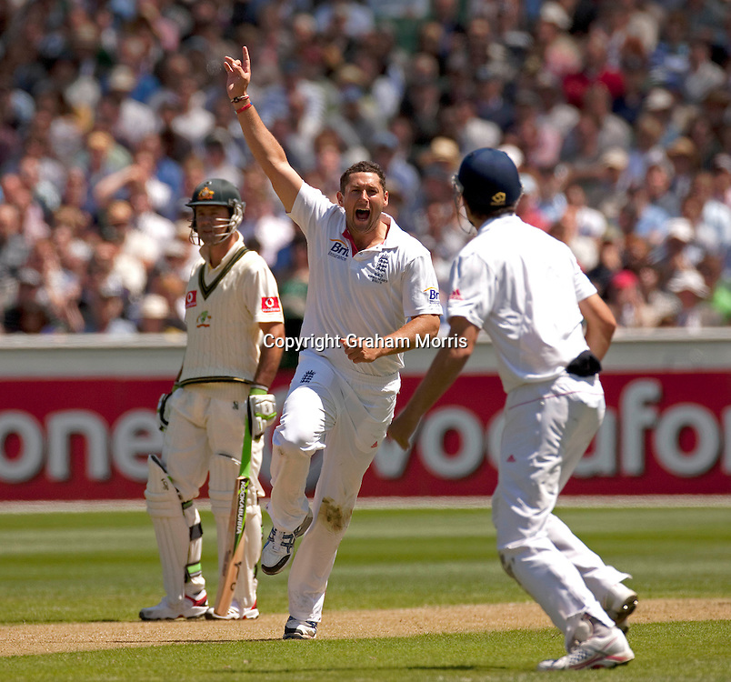 Tim Bresnan celebrates the wicket of Phillip Hughes during the fourth Ashes test match between Australia and England at the MCG in Melbourne, Australia. Photo: Graham Morris (Tel: +44(0)20 8969 4192 Email: sales@cricketpix.com) 26/12/10