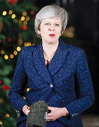 © Licensed to London News Pictures. 12/12/2018. London, UK. Prime Minister Theresa May speaks in Downing Street after winning a vote of confidence. Photo credit: Peter Macdiarmid/LNP