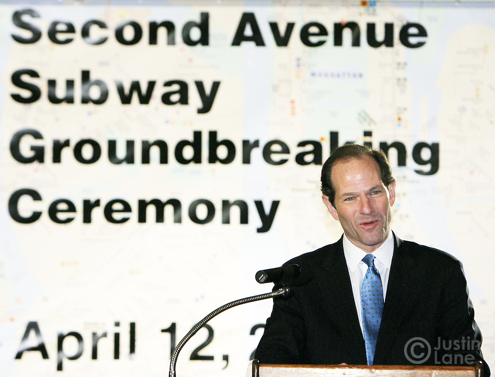 New York Governor Elliot Spitzer during a groundbreaking ceremony for the new Second Avenue subway line in New York, New York on Thursday 12 April 2007. The subway line, which is estimated to cost $17 billion,  has been discussed in the city for since the 1920s, and there have been three other official groundbreakings, but elected officials say that the first phase of the project will be complete by 2013.