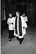 Ecumenical Service For Safe Return Of John O'Grady. (R670..1987..29.10.1987..10.29.1987..29th October 1987..As a result of the kidnapping of dentist John O'Grady  an Ecumenical Service was held, in The Chapel at Trinity College,Dublin, to pray for the safe return of Mr O'Grady...Religious from the various denominations arrive at the service to pray for the safe return of kidnap victim, John O'Grady.