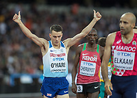Athletics - 2017 IAAF London World Athletics Championships - Day Eight, Evening Session<br /> <br /> Mens 1500m Semi Final<br /> <br /> Chris O'Hare (Great Britain) finishing fourth qualifies for the final and acknowledges the crowds support at the London Stadium<br /> <br /> COLORSPORT/DANIEL BEARHAM