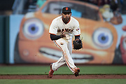 San Francisco Giants third baseman Eduardo Nunez (10) fields a ground ball against the Pittsburgh Pirates at AT&T Park in San Francisco, California, on July 25, 2017. (Stan Olszewski/Special to S.F. Examiner)