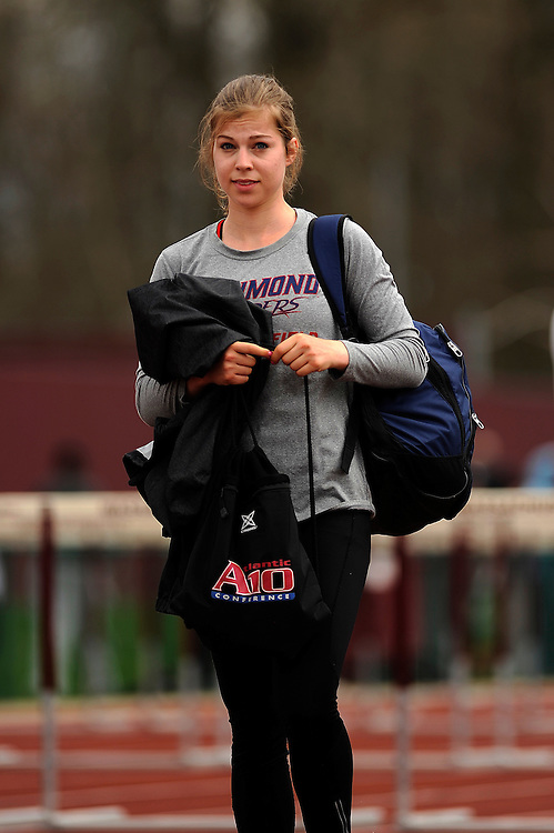 AMHERST, MA - MAY 3: Amanda Thatcher of the University of Richmond looks on during the women's long jump during Day 1 of the Atlantic 10 Outdoor Track and Field Championships at the University of Massachusetts Amherst Track and Field Complex on May 3, 2014 in Amherst, Massachusetts. (Photo by Daniel Petty/Atlantic 10)