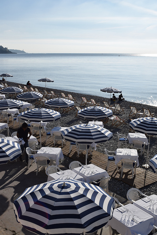Restaurant at Nice beach, France