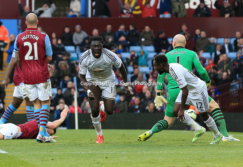 21st March 2015 - Barclays Premier League - Aston Villa v Swansea City - Bafetimbi Gomis of Swansea City celebrates after scoring the winning goal (0-1) - Photo: Paul Roberts / Offside.