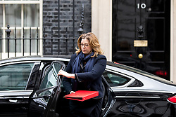© Licensed to London News Pictures. 29/01/2018. London, UK. International Development Secretary Penny Mordaunt arriving in Downing Street to attend a Brexit meeting this morning. Photo credit : Tom Nicholson/LNP