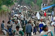 LALIBELA, WELO/ETHIOPIA..The village of Lalibela. People carrying firewood..(Photo by Heimo Aga)
