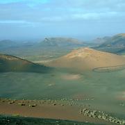 Volcanic landscape seen in the Timanfaya National Park / Montañas del Fuego in Lanzarote.