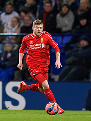 BOLTON, ENGLAND - Wednesday, February 4, 2015: Liverpool's Alberto Moreno in action against Bolton Wanderers during the FA Cup 4th Round Replay match at the Reebok Stadium. (Pic by David Rawcliffe/Propaganda)