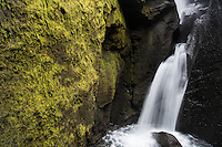 A waterfall in Stakkholtsgjá ravine, Þórsmörk, Iceland.