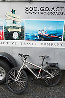 Backroads Camping Trailer and Bike at Spencer Spit State Park, Lopez Island, Washington