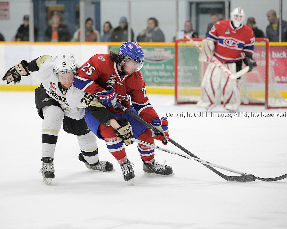 TRENTON, ON - Mar 18 : OJHL North East Conference playoff series round two, Kingston Voyageurs vs Trenton Golden Hawks, Bobby Polachek #25 and Jarret Kup #25 fight over the puck during second period game action<br /> (Photo by Amy Deroche / OJHL Images)