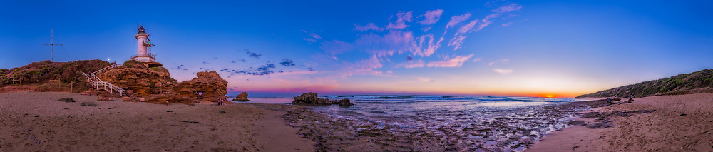 Sunset at Point Lonsdale Lighthouse, near Queenscliff, Victoria, Australia, April 7, 2017. The Sun has set to the west at right, the gibbous Moon is rising in the northeast at left of the Lighthouse. <br /> <br /> This is a 360&deg; panorama with the 14mm lens, landscape orientation, and Canon 6D camera. Stitched with PTGui. I added a soft glow layer &ldquo;Orton Effect&rdquo; to add the soft focus effect.