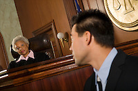 Witness in front of judge in court