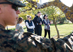 """December 21, 2017 - Sevilla, Spain - Comedian Iliza Shlesinger and WWE Superstar """"The Miz"""" meet with Marines assigned to Special Purpose Marine Air-Ground Task Force Crisis Response Africa as part of a troop engagement during the Chairmans USO Holiday Tour at Moon Air Base Dec. 21, 2017. Marine Corps Gen. Joe Dunford, chairman of the Joint Chiefs of Staff, and Army Command Sgt. Maj. John W. Troxell, senior enlisted advisor to the chairman, along with USO entertainers, visited service members who are deployed during the holidays at various locations across Europe and the Middle East. .(Credit Image:"""