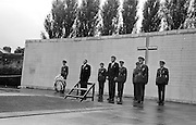 President John F. Kennedy laying a wreath at the grave of the executed 1916 leaders at Arbour Hill cemetery, Dublin.