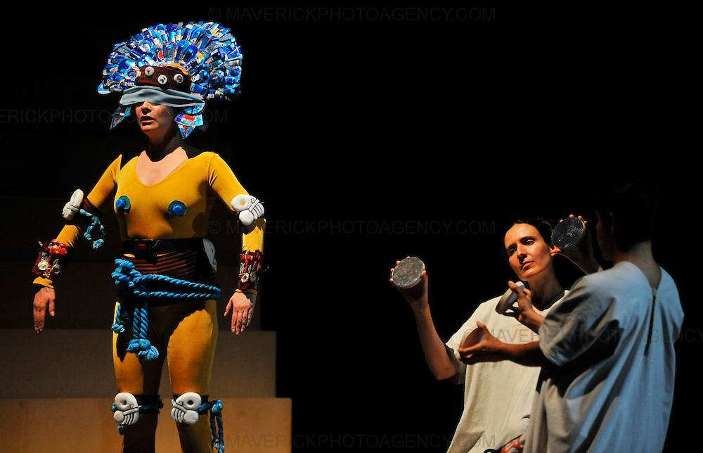EDINBURGH, UK - 12th August 2010:  Montezuma, the operatic tragedy written by Carl Heinrich Graun which details the subjugation of the Aztec people and their ancient culture by Spanish colonisers is rehearsed at the Kings Theatre ahead of a performance at the Edinburgh Festival.  (Photograph: Callum Bennetts/MAVERICK)