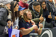 Man of the Match Pierre Schoeman (#1) of Edinburgh Rugby poses for pictures with his family after the final whistle of the 1872 Cup second leg Guinness Pro14 2019_20 match between Edinburgh Rugby and Glasgow Warriors at BT Murrayfield Stadium, Edinburgh, Scotland on 28 December 2019.