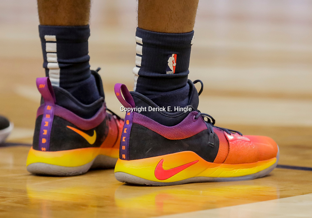 Dec 16, 2018; New Orleans, LA, USA; Shoes worn by New Orleans Pelicans forward Solomon Hill  against the Miami Heat during the first half at the Smoothie King Center. Mandatory Credit: Derick E. Hingle-USA TODAY Sports