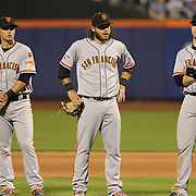 Joe Panik, (left), Brandon Crawford, (center) and Buster Posey, San Francisco Giants, during the New York Mets Vs San Francisco Giants MLB regular season baseball game at Citi Field, Queens, New York. USA. 11th June 2015. Photo Tim Clayton