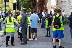 Yellow Vest protesters gather outside Magistrates Court as PC Connor Pennery, 27, of the Met Police Territorial Support Group appears on assault charges that arose during a public order situation involving the right wing Yellow Vests in Jermyn Street, Piccadilly on Saturday February 16th, 2019. London, August 29 2019.
