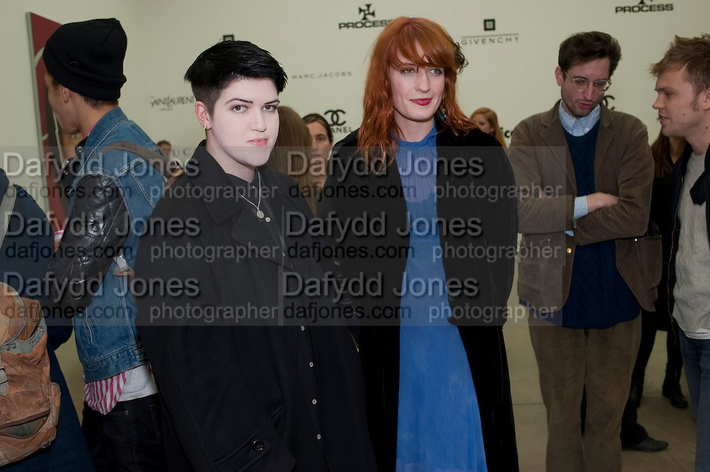 Romy Madley Croft of The XX; Florence Welch of Florence and the Machine, Richard Phillips, Most Wanted. Private view at White Cube. Hoxton Sq. London. 27 January 2011, -DO NOT ARCHIVE-© Copyright Photograph by Dafydd Jones. 248 Clapham Rd. London SW9 0PZ. Tel 0207 820 0771. www.dafjones.com.