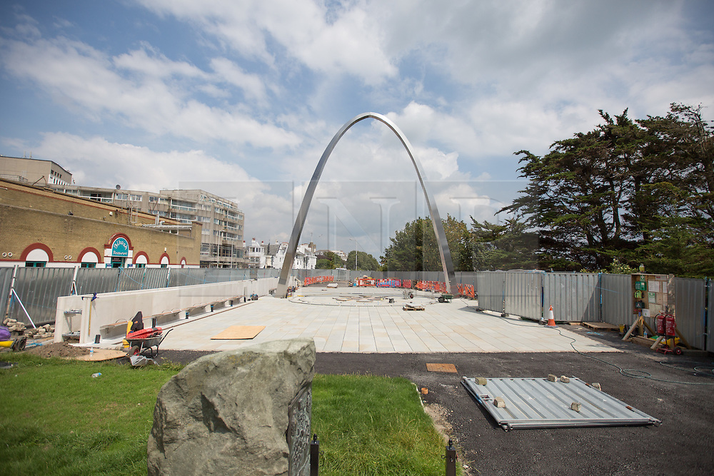 @Licensed to London News Pictures 21/07/2014.Road of Remembrance, Folkestone, Kent. Final preparations are being made to the WW1 commemorative arch in Folkestone which will be officially opened by His Royal Highness Prince Harry on the 4th August 2014 as the town remembers those who took part in the 1914-18 conflict. Photo credit: Manu Palomeque/LNP