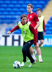 CARDIFF, WALES - Monday, October 15, 2012: Wales' Joe Allen during a training session at the Cardiff City Stadium ahead of the Brazil 2014 FIFA World Cup Qualifying Group A match against Croatia. (Pic by David Rawcliffe/Propaganda)