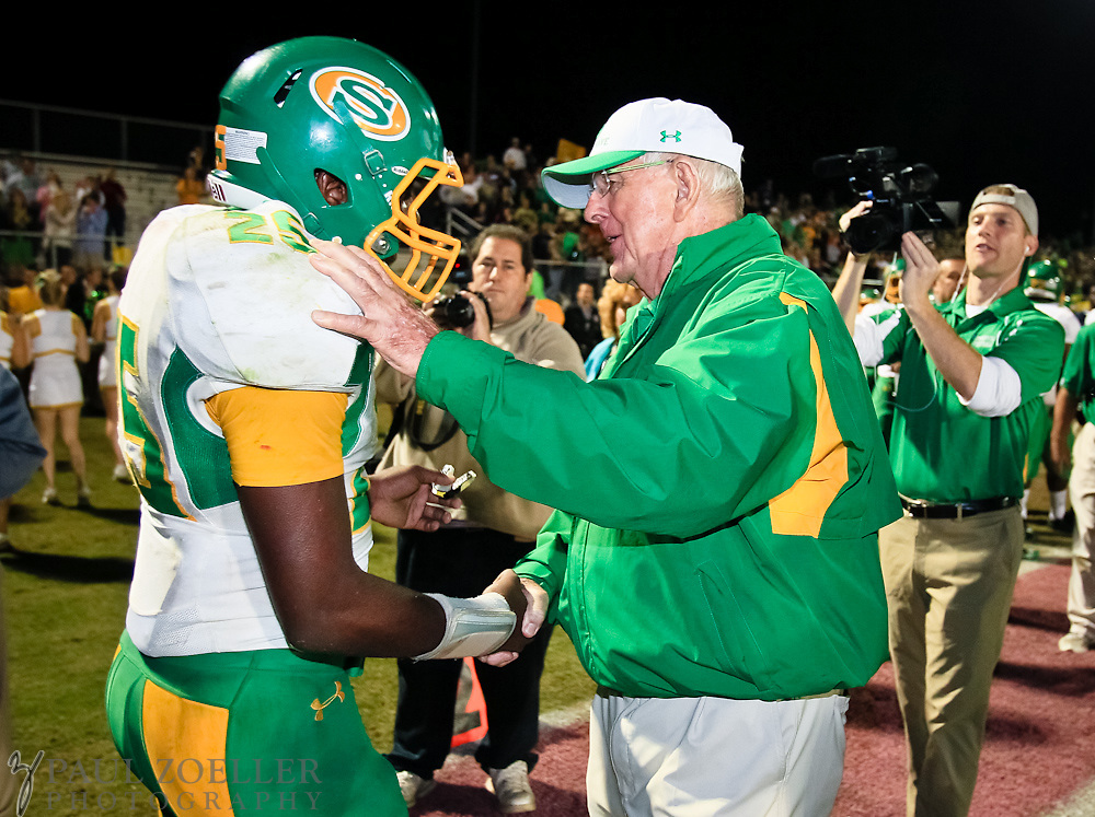 Summerville coach John McKIssick thanks Davon Anderson for all his work in McKissick's 600th win Friday, Oct. 26, 2012 at Ashley Ridge High School in Summerville. Paul Zoeller/Special to the Post and Courier