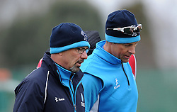 Somerset's Director of Cricket Matt Maynard and Somerset's Marcus Trescothick - Photo mandatory by-line: Harry Trump/JMP - Mobile: 07966 386802 - 23/03/15 - SPORT - CRICKET - Pre Season Fixture - Day 1 - Somerset v Glamorgan - Taunton Vale Cricket Club, Somerset, England.