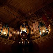 Oman, Wahiba Sands. January/25/2008...The evening glow of lanterns at Nomadic Desert Camp.