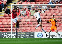 Barnsley's Jacob Mellis scores the only goal of the game, heading past Bristol City Goalkeeper, Tom Heaton - Photo mandatory by-line: Joe Meredith/Josephmeredith.com  - Tel: Mobile:07966 386802 01/09/2012 - Barnsley v Bristol City - SPORT - FOOTBALL - Championship -  Barnsley  - Oakwell Stadium -