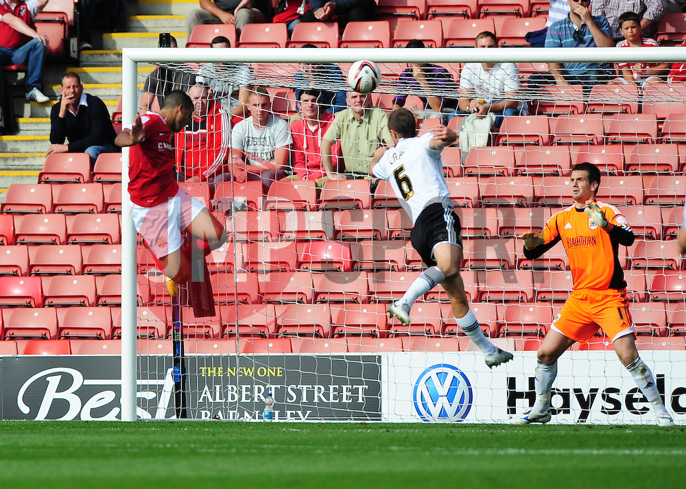 Barnsley's Jacob Mellis scores the only goal of the game, heading past Bristol City Goalkeeper, Tom Heaton - Photo mandatory by-line: Joe Meredith/Josephmeredith.com  - Tel: Mobile:07966 386802 01/09/2012 - Barnsley v Bristol City - SPORT - FOOTBALL - Championship -  Barnsley  - Oakwell Stadium -