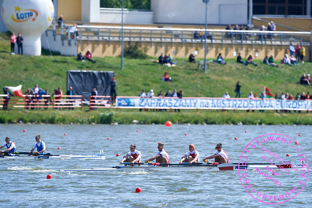 (stroke) Milosz Bernatajtys and (3) Rafal Serwiak and (2) Mateusz Drab and (bow) Dawid Kaminski all from Poland compete at Lightweight Man&rsquo;s Four (LM4-) during third day the 2015 European Rowing Championships on Malta Lake on May 31, 2015 in Poznan, Poland<br /> Poland, Poznan, May 31, 2015<br /> <br /> Picture also available in RAW (NEF) or TIFF format on special request.<br /> <br /> For editorial use only. Any commercial or promotional use requires permission.<br /> <br /> Mandatory credit:<br /> Photo by &copy; Adam Nurkiewicz / Mediasport
