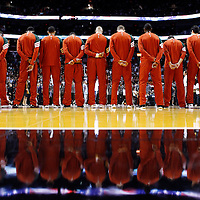 22 January 2012: Milwaukee Bucks players stand during the national anthem prior to the Milwaukee Bucks 91-82 victory over the Miami Heat at the AmericanAirlines Arena, Miami, Florida, USA.