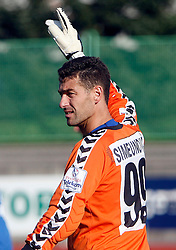 Goalkeeper of NK Factor Marko Simeunovic during the football match of Prva Liga between NK Factor and HIT Gorica, on October 15, 2006 in ZAK stadium, Ljubljana, Slovenia. (Photo By Vid Ponikvar / Sportida.com)
