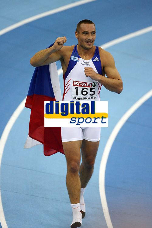 Photo: Rich Eaton.<br /> <br /> EAA European Athletics Indoor Championships, Birmingham 2007. 04/03/2007. Roman Sebrle of Czech Republic celebrates winning gold in the mens heptathlon