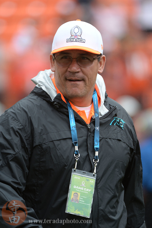 January 26, 2014; Honolulu, HI, USA; Team Rice head coach Ron Rivera of the Carolina Panthers watches warm ups before the 2014 Pro Bowl against Team Sanders at Aloha Stadium.