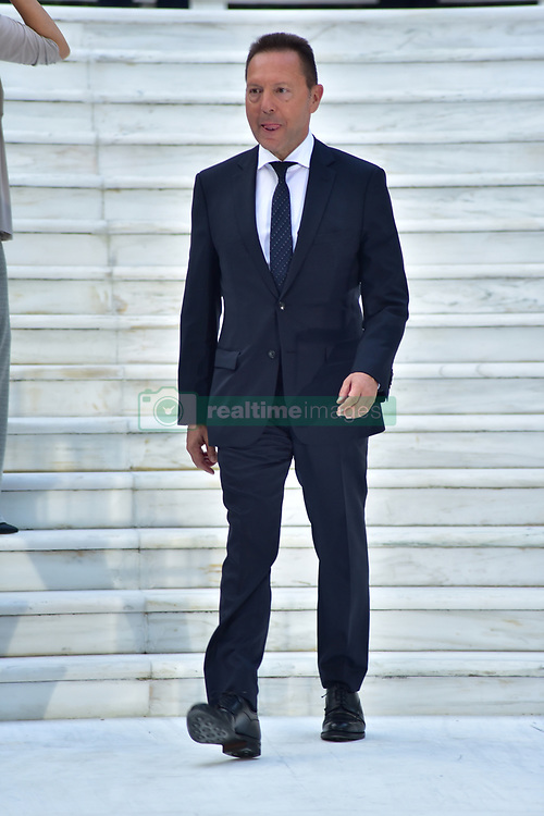 July 24, 2017 - Athens, Attiki, Greece - Governor of the Bank of Greece Yiannis Stournaras, during the 43rd anniversary for the restoration of Democracy in Greece. (Credit Image: © Dimitrios Karvountzis/Pacific Press via ZUMA Wire)